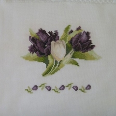 Cross Stitched Purple and White Tulips