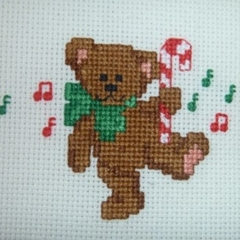 Small cross stitched Christmas bear