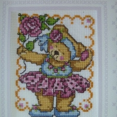Cross stitched bear card with envelope