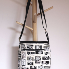 Black and grey camera fabric satchel bag with adjustable strap- Custom order