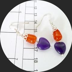 Purple amethyst and orange topaz earrings with silver trim