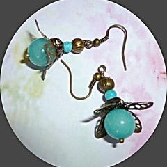 Aquamarine and bronze filigree earrings