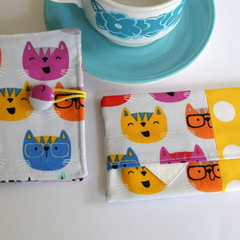 FREE POST - Tea Wallet & Tissue Case Gift Set. Cute Cats