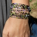 Multi Wrap Bead Bracelet Necklace Boho Summer  Green Purple