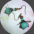 Aquamarine and bronze filigree earrings