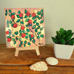 Small original floral painting - Red Berries