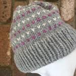 Grey ladies beanie alpaca pink beanie hearts cream beanie knitted hat