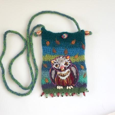 Unique felt crossbody pouch for phone/sunglasses etc.  Owl motif. Colourful.
