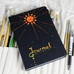 Journal Kit - Black - Sun- Star - Notebook - Unique Design - A5 - Unisex Gift