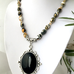 Sea Sediment Jasper Yellow & Black Necklace with Genuine Onyx Pendant.