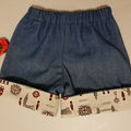Little Hipster Shorts with cuff. Cuff in tan cotton with London characters