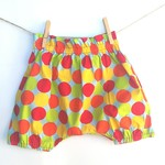 Baby toddler bloomers harem shorts, Christmas Spots, rainbow coloured 1-2yrs