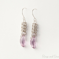 Sterling silver chainmaille crystal earrings. Silver violet mauve earrings.