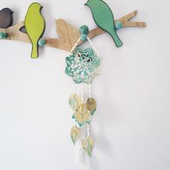 Ceramic & Macrame Wall Hanging. Mandala and Leaves