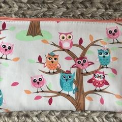 Colourful owls pencil case