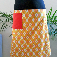 Orange and White Skirt with Bamboo Stretch Waist