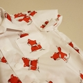 Sweet little foxes- 'button' down collared shirt/romper with snap crotch.