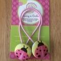 Pink ladybug hair ties