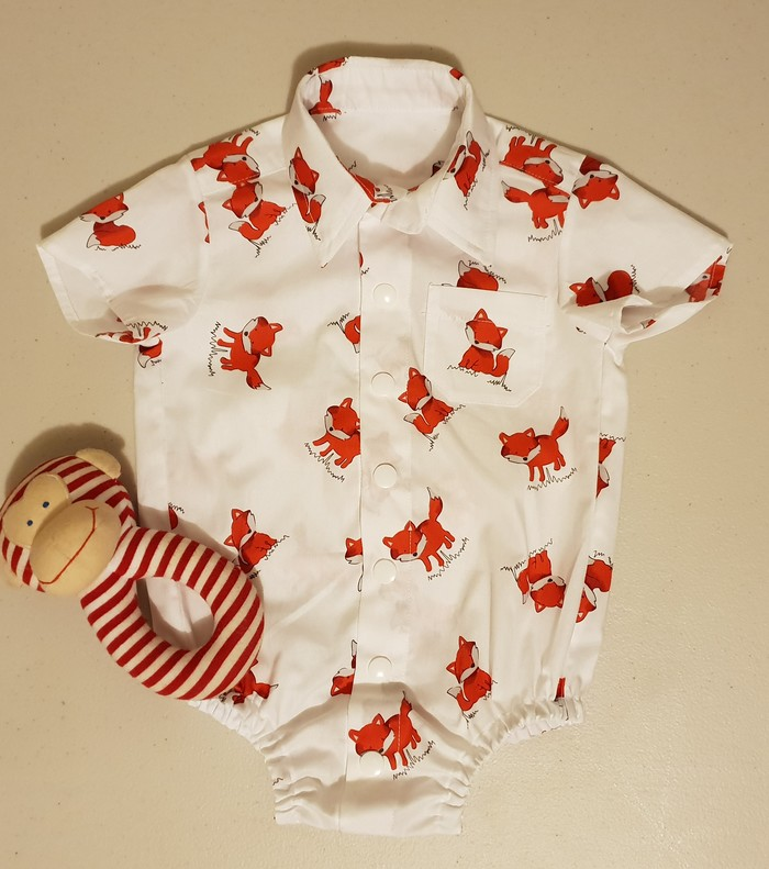 1d47a6c616cd Sweet little foxes-  button  down collared shirt romper with snap ...