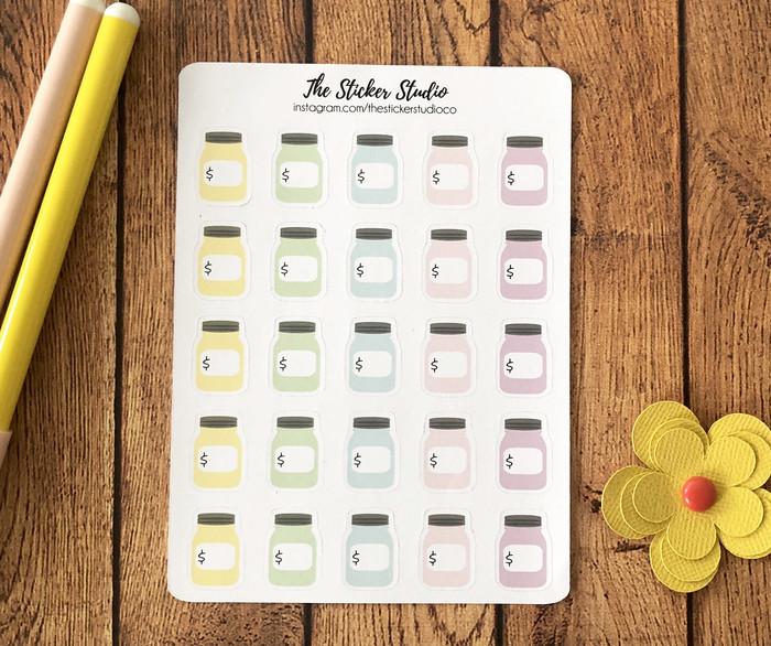 money saving planner stickers saving routine mason jar stickers