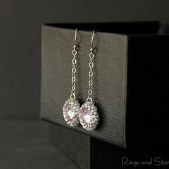 Pastel violet mauve vintage style earrings. Sterling silver chain earrings.