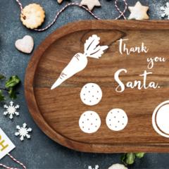 LARGE Santa Plate decals - cookies and milk reindeer - vinyl decal