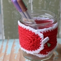 Zero Waste Christmas Gift Reusable Red Mug Cosy Jar Cosy Pencil Holder Cosy