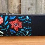 Black Floral Pencil Case