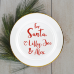 LARGE Customised Plate decals - cookies and milk - vinyl decal - Christmas