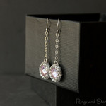 Pastel violet mauve vintage style earrings. Sterling silver chain earrings.