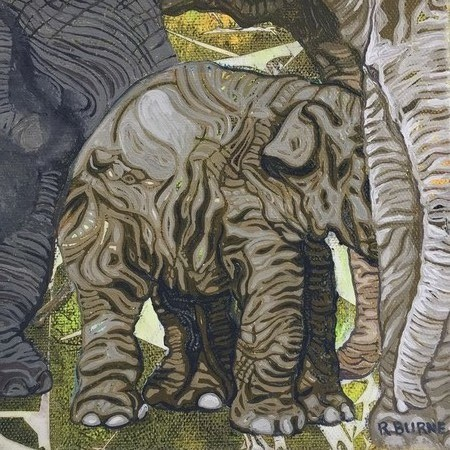 Original small painting of elephants. Ink and oil paint on canvas. Ready to hang