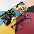 Glasses case, handcrafted fabric sunglasses pouch, tropical floral