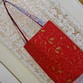 Christmas Bag - Red Gold & Grey Paisley - Totally Reversible