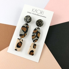 Polymer clay earrings, statement earrings in leopard print gold glitter