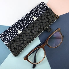 Glasses case, handcrafted kimono fabric sunglasses pouch, indigo blue and white