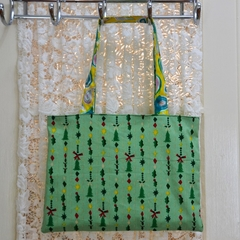 Christmas Bag - Green & Yellow Paisley - Totally Reversible