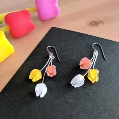 Tulip Ensemble Drop Earrings (Orange Yellow White)