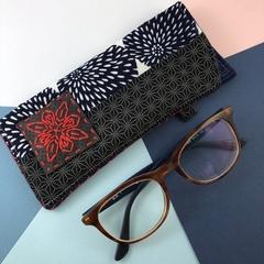 Glasses case, handcrafted kimono fabric sunglasses pouch, indigo blue and red