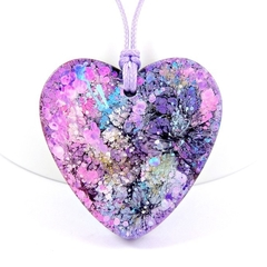 Alcohol Ink and Resin Heart Necklace - purple, blue, pink, white & gold