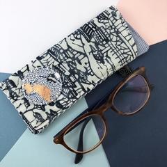 Glasses case, handcrafted Kimono fabric sunglasses case indigo blue and white