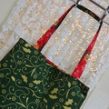 Christmas Bag - Green & Gold with Elves - Totally Reversible