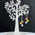 Tulip Trio Earrings (Orange Yellow White) - hypoallergenic dangle earrings