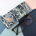 Glasses case, handcrafted Kimono fabric sunglasses case indigo blue and white