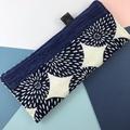 Glasses case, handcrafted kimono fabric sunglasses pouch, indigo blue and white