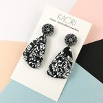 Polymer clay earrings, statement earrings in monochrome black and white