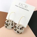 Polymer clay earrings, statement hoop earrings in leopard print