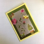 Birthday Card with Roses and Butterflies on Yellow Hand Made Card
