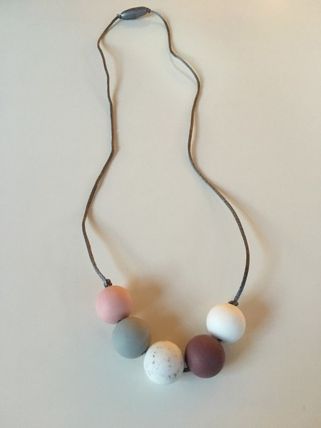 Silicone and Natural Wood Necklace - Rosy Pink and Plum