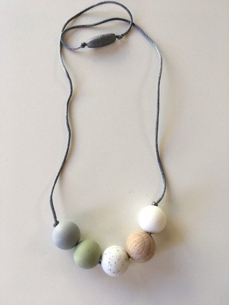 Silicone and Natural Wood Necklace - Olive and Marble