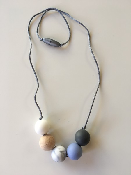 Silicone and Natural Wood Necklace - Powder Blue